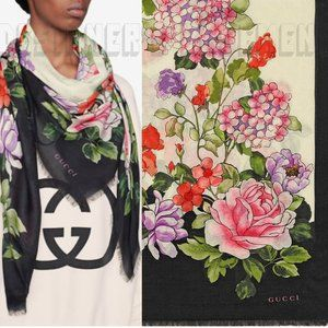 GUCCI modal GG Logo RISING FLOWERS Shawl Pashmina